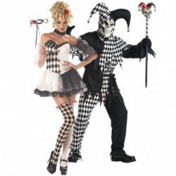 Harlekin Kostüm Damen schwarz / weiß