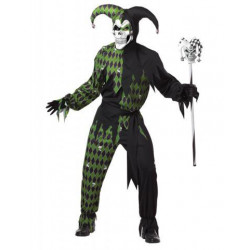 Böser Harlekin Kostüm Schwarz-Grun