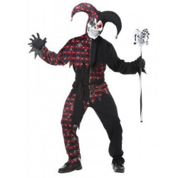 Harlekin Clown Kostüm Rot Schwarz sinister
