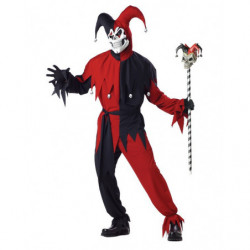 Harlekin Clown Kostüm Rot Schwarz clasic