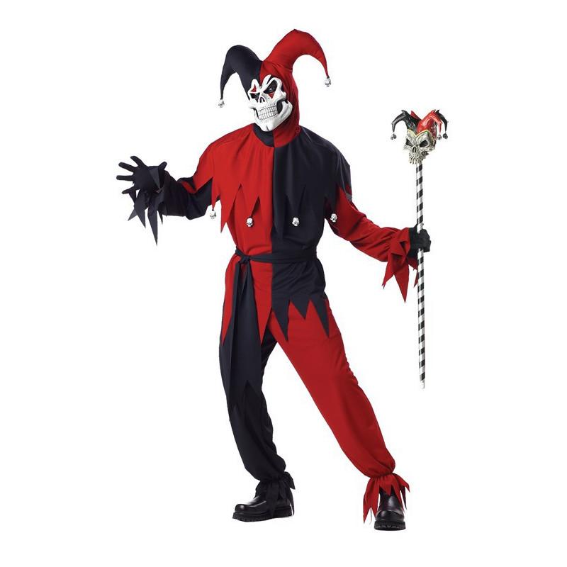 Böser Harlekin Clown Kostüm Rot Schwarz clasic