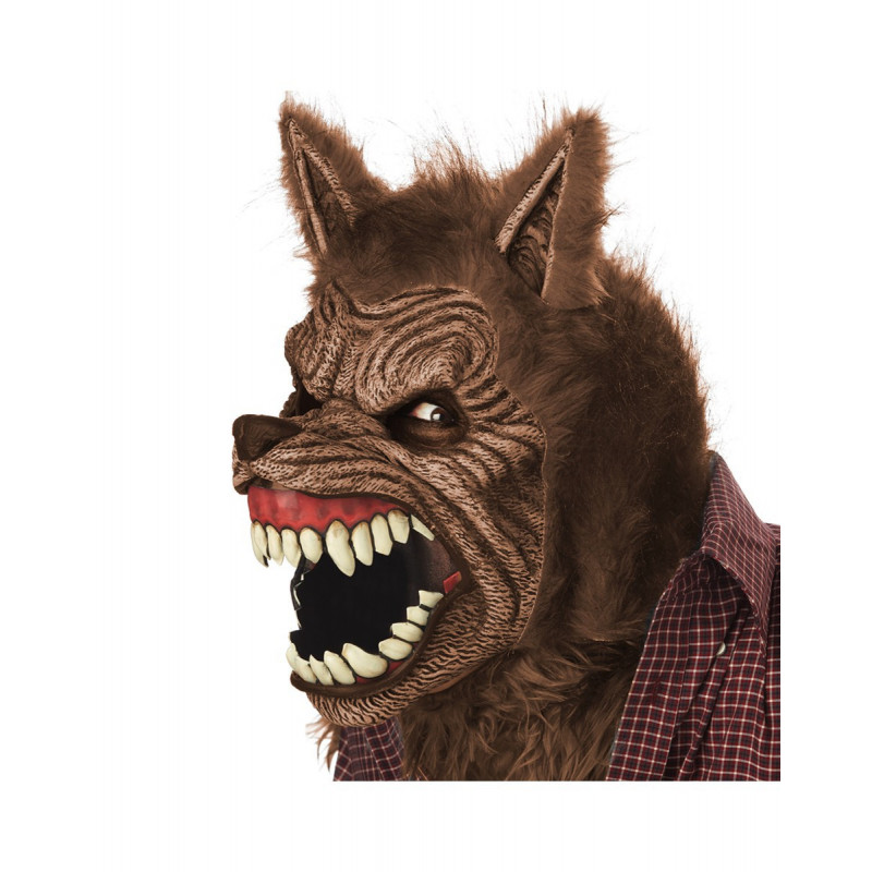 Brauner Werwolf Halloween Ani-Motion Maske