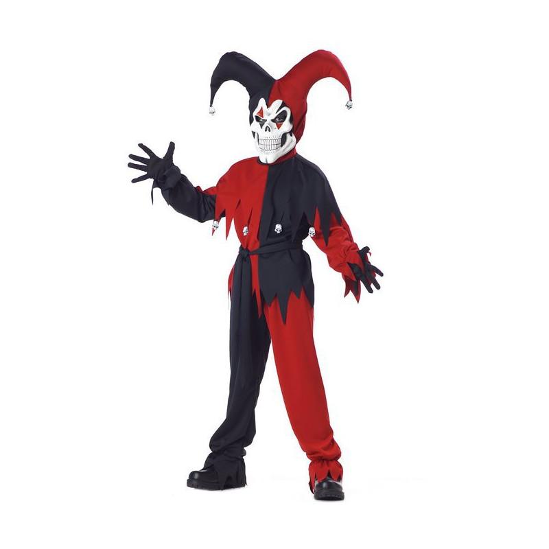 Böser Harlekin Kinder Kostüm Schwarz-Rot