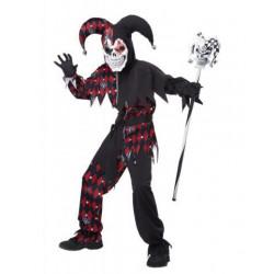 Harlekin Kinder Kostüm Schwarz-Rot Sinister Jester