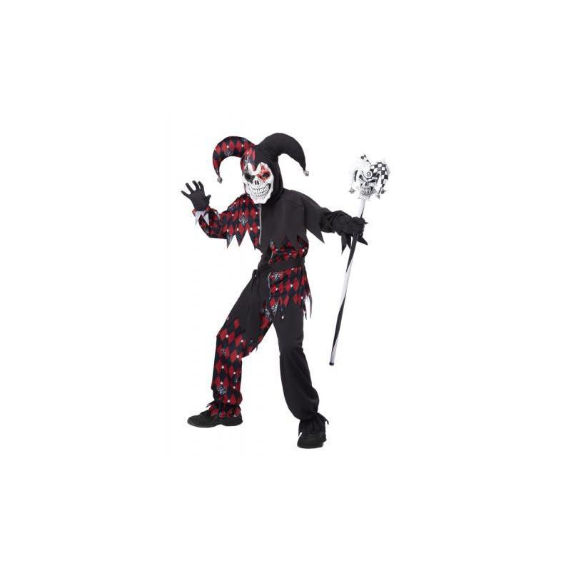 Böser Harlekin Kinder Kostüm Schwarz-Rot Sinister Jester