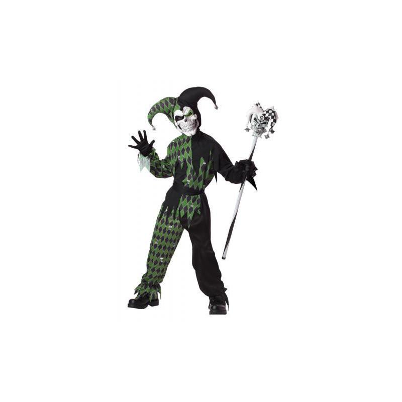 Böser Harlekin Kinder Kostüm Schwarz-Grun