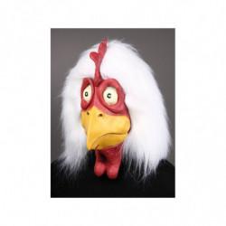 Gockel Maske aus Latex mit Plüschhaube