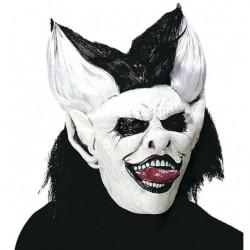 Punk Clown Maske mit schwarz/weissen Haaren