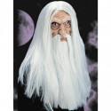 Zauberer Maske mit langen Haaren und Bart
