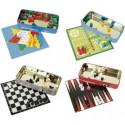 Backgammon spiel in einer Metalldosen Tric Trac Reisespiel