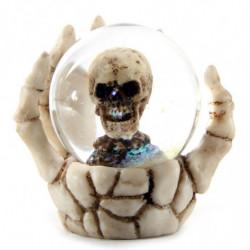 Schneekugel Totenkopf in Skeletthand