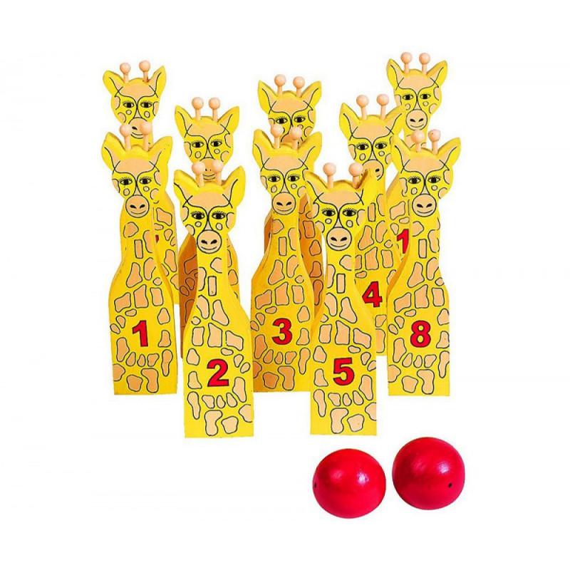 Giraffe Bowling Kegelspiel aus Holz kinder Spielzeug Schweiz