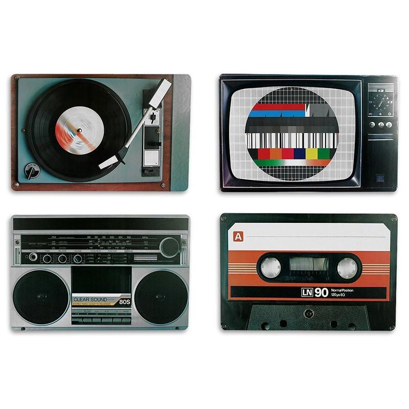 Tischset Nostalgische Hifi-Geräte 4er-Set