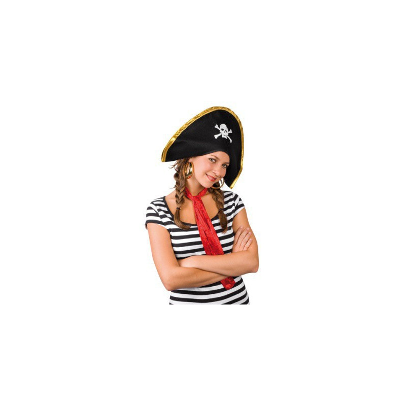 Piratenhut  schwarz mit Totenkopf