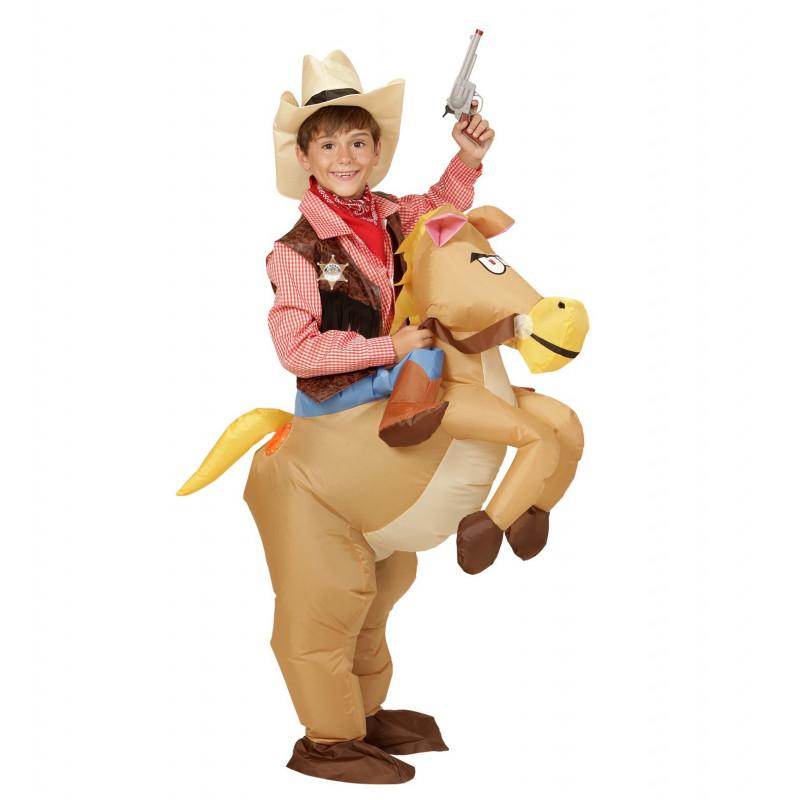 Aufblasbares Kostüm Cowboy auf Pferd