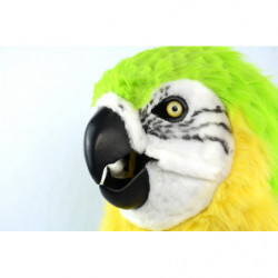 Grüner Papagei Kinder Maske mit beweglichem schnabel