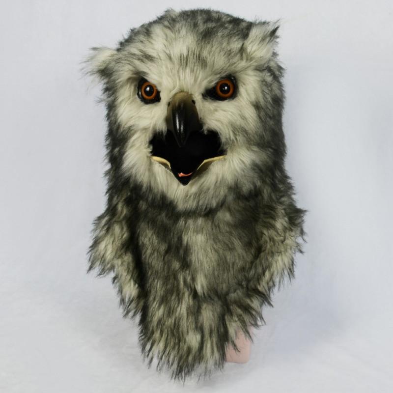 Graue Eule Vögel Maske mit beweglichem schnabel