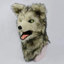 Kinder Wolfmaske Grauer Wolf mit beweglichem Maul