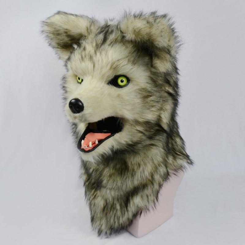 Wolfmaske Grauer Wolf mit beweglichem Maul