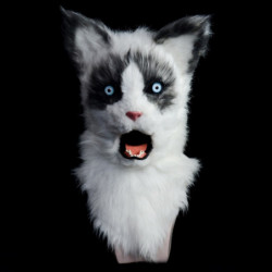 Katzen Kinder Maske mit beweglichem Maul