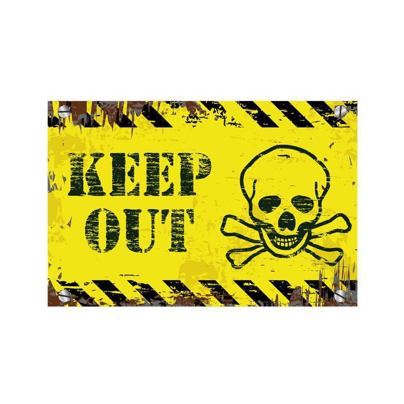 Türschild Keep out mit Totenkopf