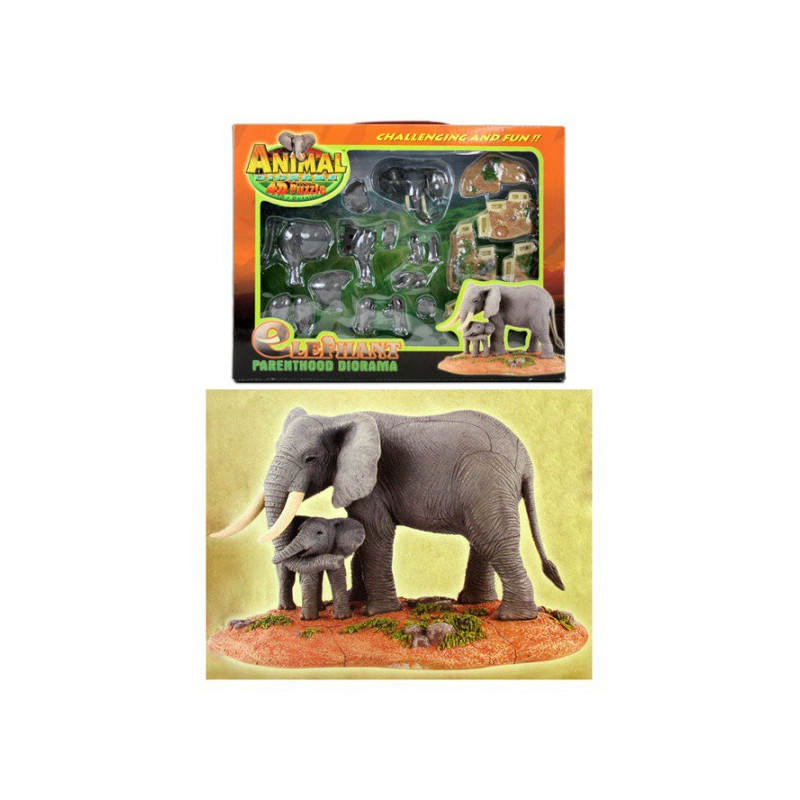 4D Diorama Puzzle Elefanten