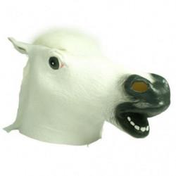 Pferdekopfmaske aus Latex WEISS mit weisser mähne Pferdemaske