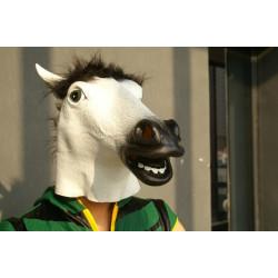 Pferdekopfmaske aus Latex WEISS mit schwarzer mähne Pferdemaske wz