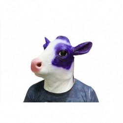 Lila Kuh Maske aus Latex