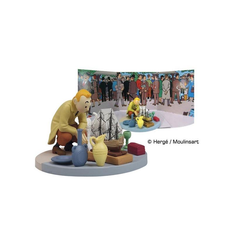 Tim und Struppi Figurenszene  Auf dem Flohmarkt